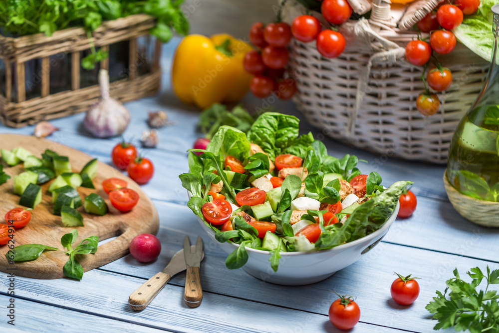 Fototapeta Healthy fresh spring salad