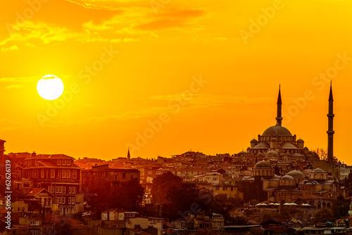Tuinposter Midden Oosten Istanbul sunset