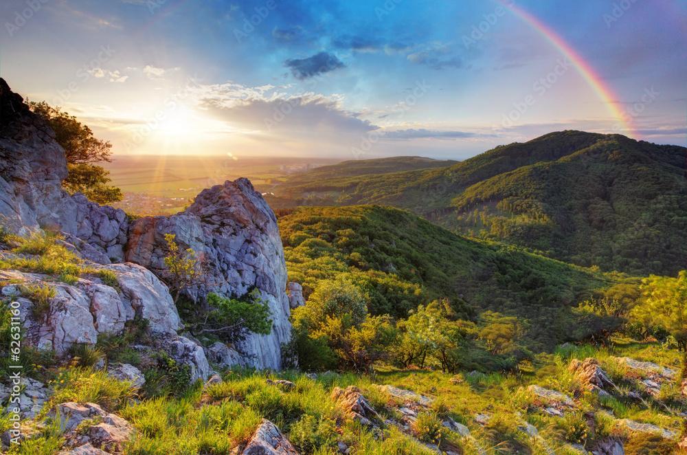 Fototapeta Green mountain with rainbow