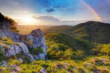 Fototapeta Tęcza - Green mountain with rainbow