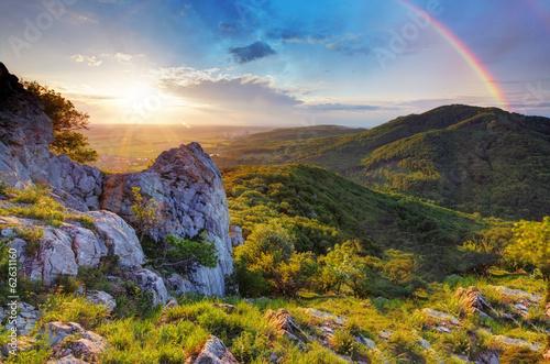 Fototapeta góry zachod-slonca-nad-gorami