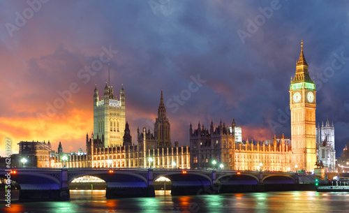 Spoed Fotobehang Londen Big Ben and Houses of Parliament at evening, London, UK