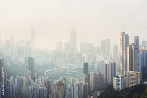 Air pollution hangs over Hong Kong Island Poster