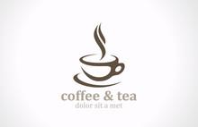 Coffee Tea Cup Logo Vector Design. Cafe Emblem Icon