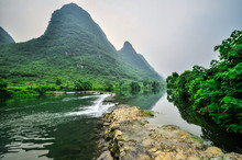 Li River Mountain Landscape In Yangshuo Guilin