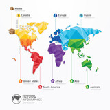 world map illustration infographics geometric concept design vec