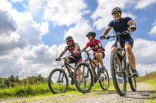 Gutgelaunte Gruppe Mountainbiker