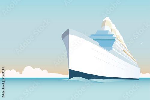 Fototapeta Retro style white cruise ship on the ocean