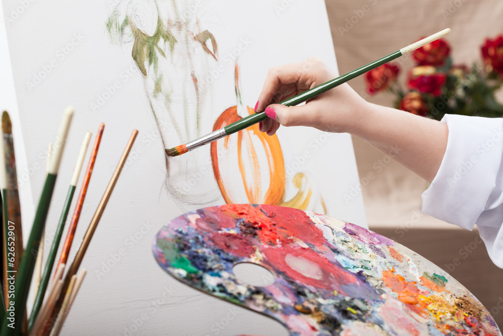 Fototapety, obrazy: Artist painting a picture