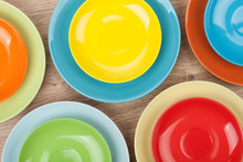 Colorful Plates And Saucers