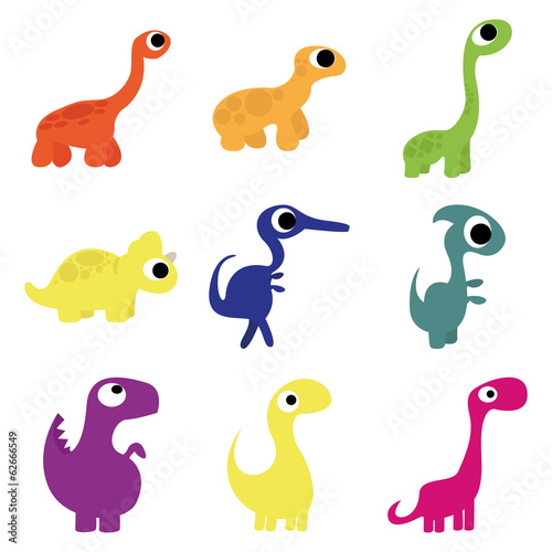 Photo  Vector Set Of Different Cute Cartoon Dinosaurs Isolated