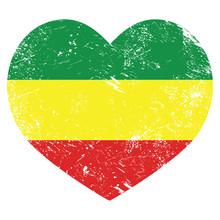 Rasta, Rastafarian Retro Heart...