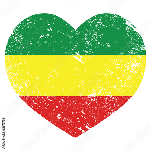 Valokuvatapetti Rasta, Rastafarian retro heart shaped flag
