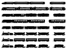 Vector Silhouettes Of Trains A...