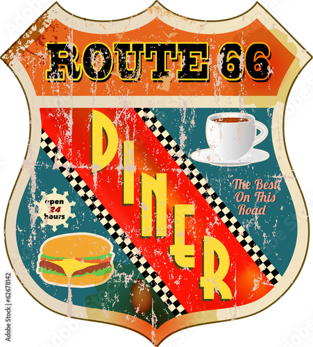 retro route 66 diner sign, vector eps 10