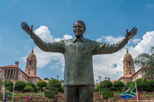Photo Stands South Africa Statue of Nelson Mandela in Pretoria, South Africa