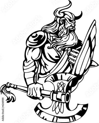 Photo  Nordic viking - black white vector illustration. Vinyl-ready.