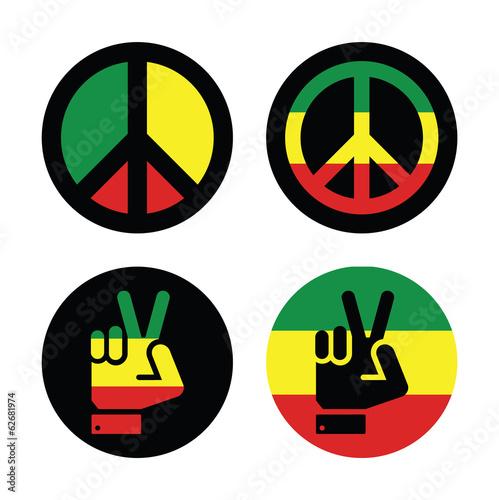 Photo  Rasta peace, hand gesture vector icons set