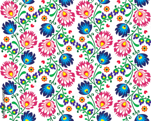 Seamless folk Polish pattern - wzor lowicki