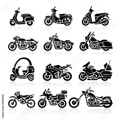 Pinturas sobre lienzo  Motorcycle Icons set. Vector Illustration.