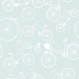 Bezszwowy wzór z sylwetkami retro rower. - 62685989