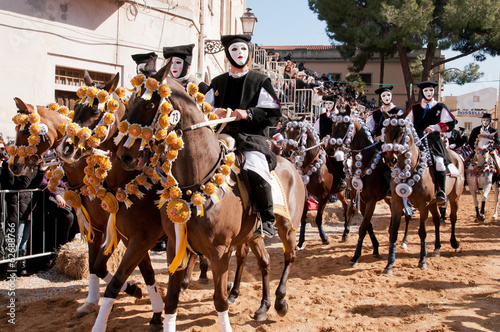 Sartiglia of Oristano, traditional carnival of Sardinia, Italy Canvas Print