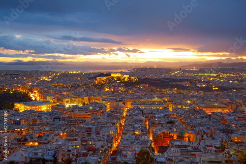 Foto auf Leinwand Athen Athens, Greece. After sunset.