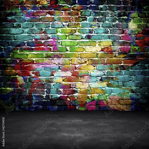 Foto op Aluminium Graffiti graffiti brick wall