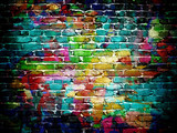 Fototapeta Teenage - graffiti brick wall
