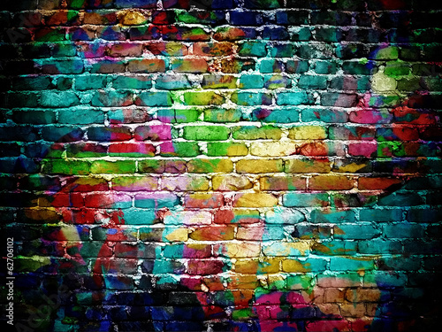 Spoed Foto op Canvas Graffiti graffiti brick wall