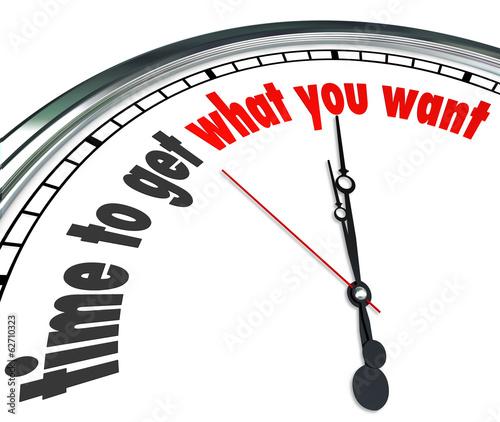 Carta da parati Time to Get What You Want Clock Countdown Deadline