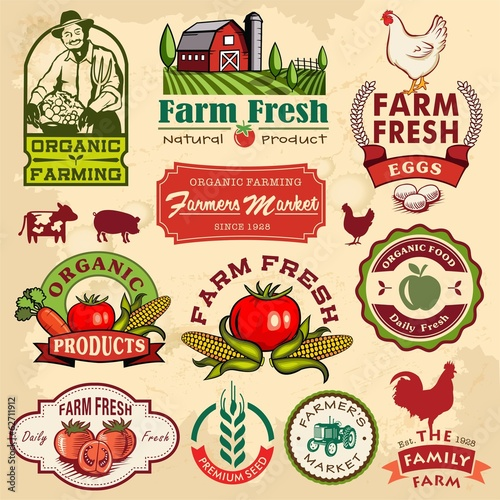Foto  Collection of vintage retro farm labels and design elements