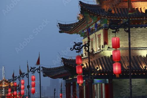 Foto op Plexiglas Xian night scene at xian city wall,china