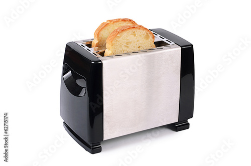 silver toaster isolated on white background