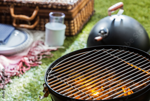 Aluminium Prints Grill / Barbecue Burning hot fire in a portable barbecue