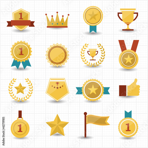 Trophy and prize icons with white background Fototapete