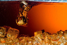 Cola With Ice. Food Background
