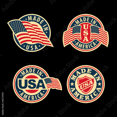 Made in America (USA) - set of badges and labels.