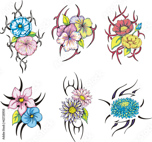 f2b8bd4fa colorful tribal flower tattoos - Buy this stock vector and explore ...
