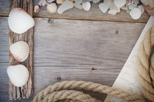 Marine Background - Seashells, Rope And Letter