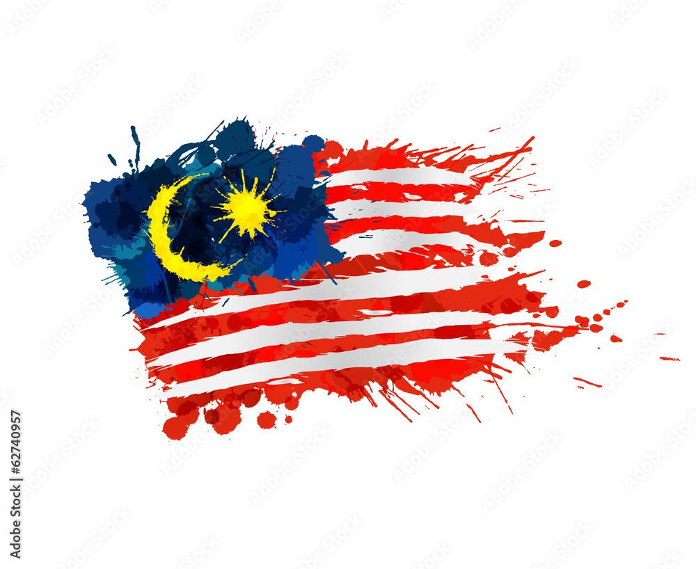 Fototapeta Malaysian flag made of colorful splashes