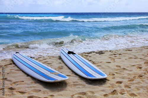 Surfboards at beach Poster
