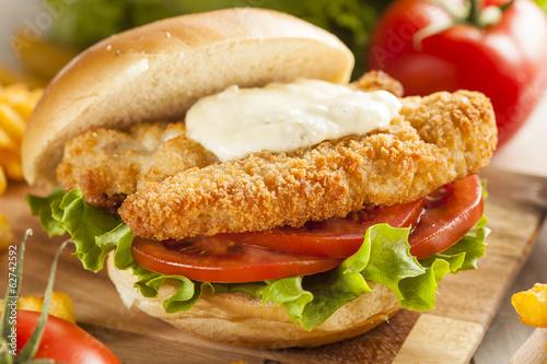 Fototapeta Breaded Fish Sandwich with Tartar Sauce obraz