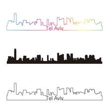 Tel Aviv Skyline Linear Style With Rainbow