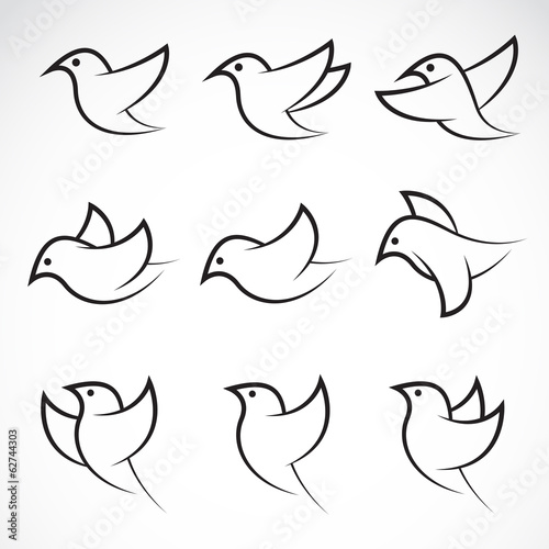 Set of vector bird icons Canvas-taulu
