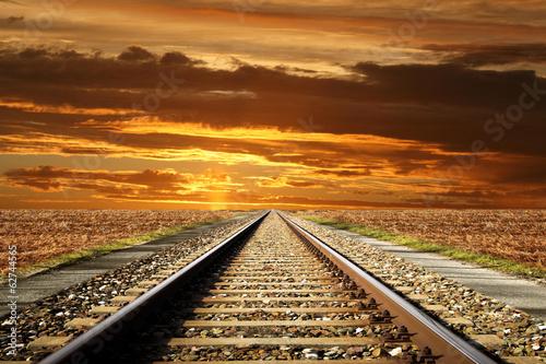 Poster Voies ferrées ferrovia al tramonto
