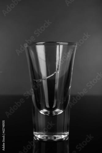 Fototapeta Broken glass on grey background obraz na płótnie
