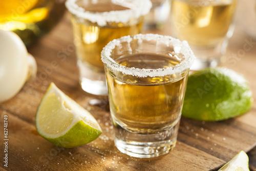 Obraz na płótnie Tequila Shots with Lime and Salt