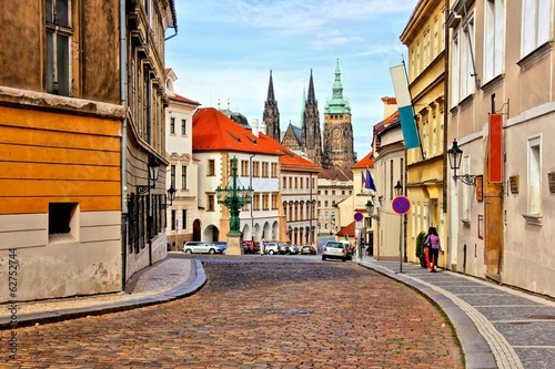 Poster Praag Street in the old town of Prague with St Vitus Cathedral