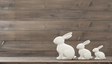 Easter Bunny Over Wooden Background